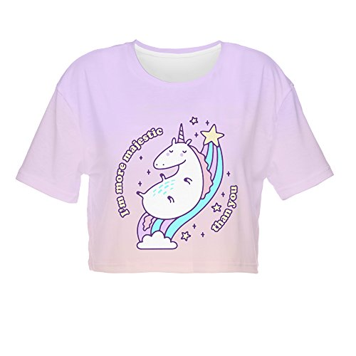 Fringoo ® Women's Girls Teenagers Crop Top Summer Short Sleeve T-shirt Cropped Party Shirt Festival Holiday Top 8 / 10 / 12 / 14 (8 / 10 / 12, Majestic Unicorn - Tee)
