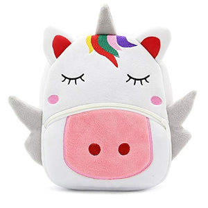 Unicorn plush backpack white