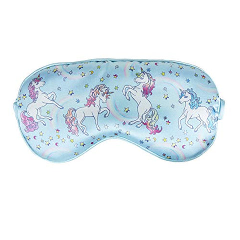 Unicorn Sleep Mask | Soft Faux Silk | Pastel Blue