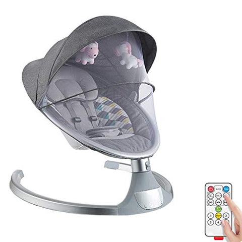 Electric Baby Bouncer | Comfort Swing Chair for Newborn | Unicorn Soft Toy | Grey