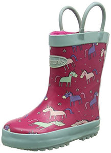 unicorn theme wellies wellington boots pastel pink green with handles for easy removal
