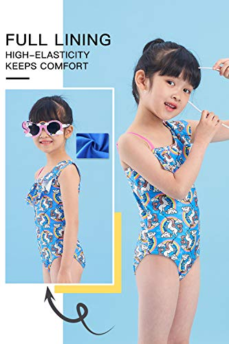 Unicorn rainbow blue swimming costume