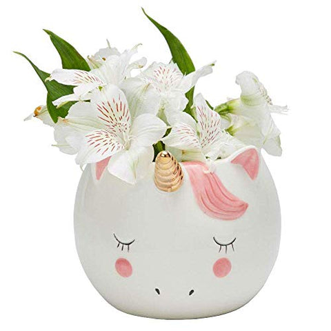 Unicorn plant pot - pink white gold