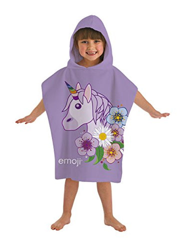 Emoji ' Unicorn' Hooded Kids Poncho | Cotton | Multi-Colour | 50 x 0.1 x 115 cm