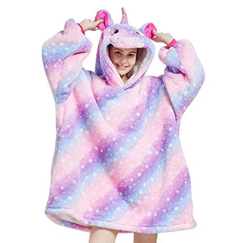 Oversized Hoodie Blanket, Wearable Sherpa Blanket Winter Warm Cosy TV Blanket with Cute Animal Hood Sweatshirt for Girls Women Adult Teens