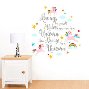 Always be Yourself - Rainbow, Unicorn & Stars - Girls Childrens Quote Wall Sticker Childrens Art Vinyl Decal Transfer - Designed by Rubybloom Designs