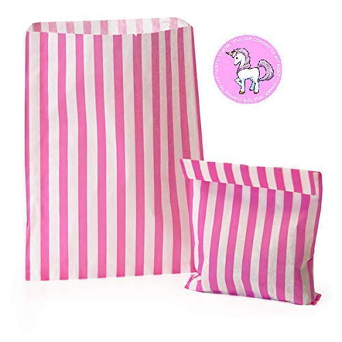 Pink Striped Party Sweet Bags with Unicorn Sticker