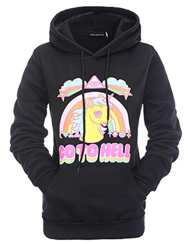 Stephaee Women's Cute Unicorn Print Hoodie Sweatshirt Casual Pullover Hooded Jumper Top Go To Hell Black S