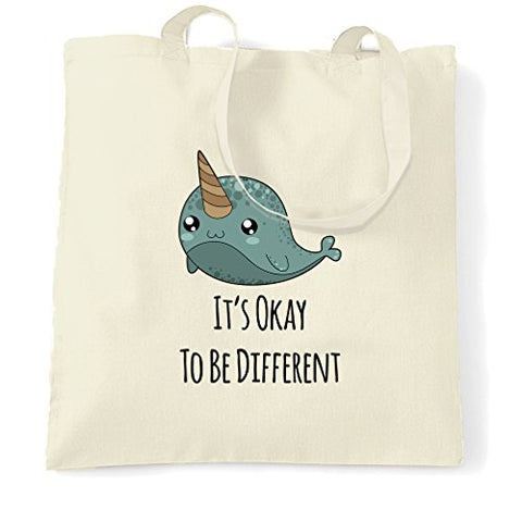 It's Okay To Be Different Narwhal Unicorns Of Sea Cartoon Cute The Ocean Sunfish Bowhead Mammal Tusk Nature Slogan Shopping Tote Bag Cool Birthday Gift Present