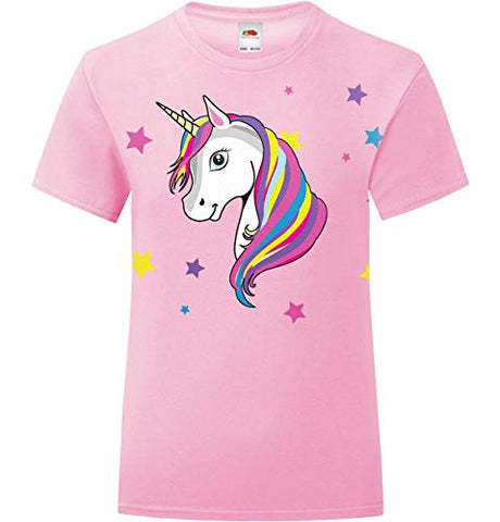 Unicorn T-Shirt With Stars | Light Pink For Girls