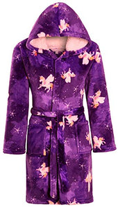 Purple Girls Soft & Cosy Hooded Unicorn Dressing Gown