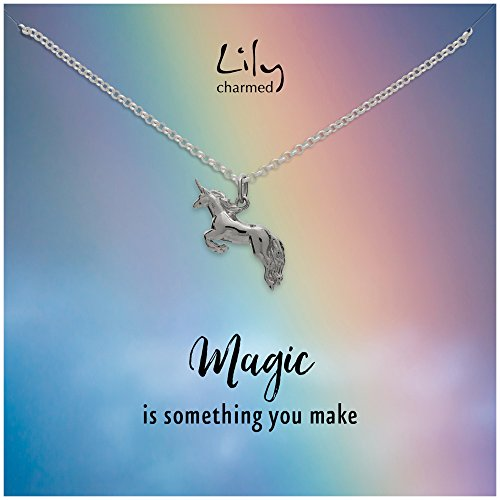 "Lily Charmed - Gold Unicorn Necklace with ""Magic"" Message Card"