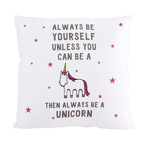 Fun white unicorn cushion cover with stars and quote