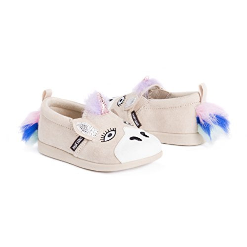 Unicorn slip on toddler shoe beige pink blue