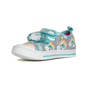 Buckle My Shoe Girls Unicorn Easy Fasten Canvas - Size 12 Child UK - Multicolour