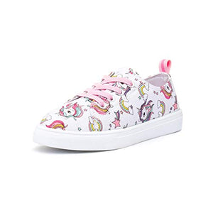 Multicolour girls unicorn trainers pink laces