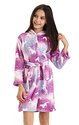 Soft Unicorn Dressing Gown Bathrobe For Girls | Pink & White