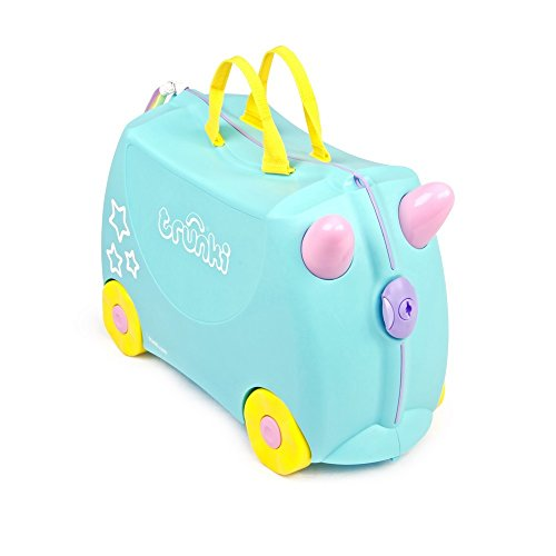 Unicorn trunki blue girls boys suitcase trunky ride on