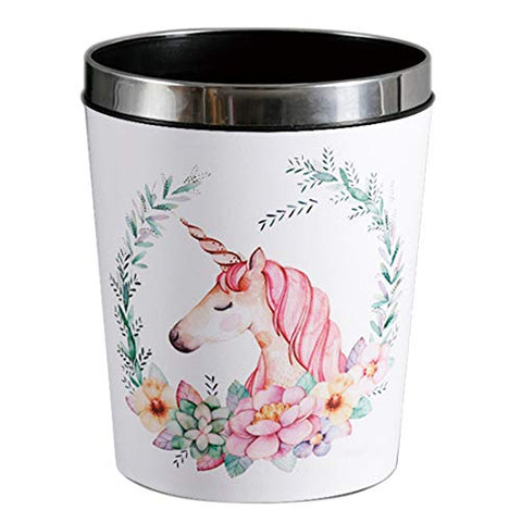 Unicorn bin, white with flowers design theme