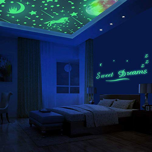 Unicorn & Stars Glow In The Dark Wall Stickers For Bedroom