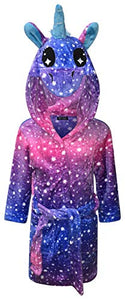 Pink & Purple Unicorn Stars Dressing Gown For Kids, Girls, Various Sizes