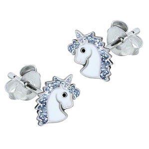 Sterling Silver Unicorn Earrings - Silver Glitter