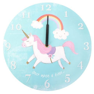 Cute unicorn wall clock. Pastel baby blue colour with rainbow and cloud design. Perfect for nursery or children's bedroom.