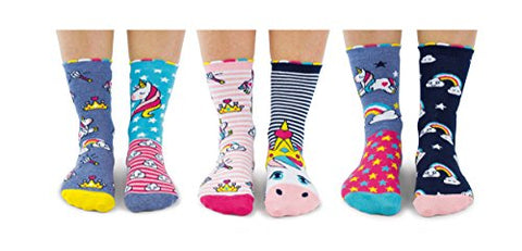 Unicorn Daze | Box 6 United Oddsocks For Girls |  Multicoloured | UK 12-5.5, EUR 30.5-38.5, US 13.5-8