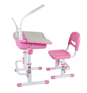 Deluxe Children School Desk With Chair, Lamp | Pink Study Table | Leomark