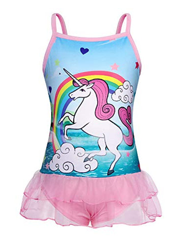 Multicolour unicorn swimming costume with pink tutu