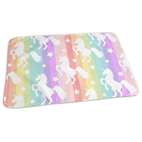 Unicorns Fairy Forest Baby Reusable Changing Pad Cover Portable Travel Changing Mat 27.5x19.7 inch