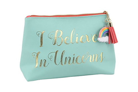 'I Believe in Unicorns' turquoise make up bag