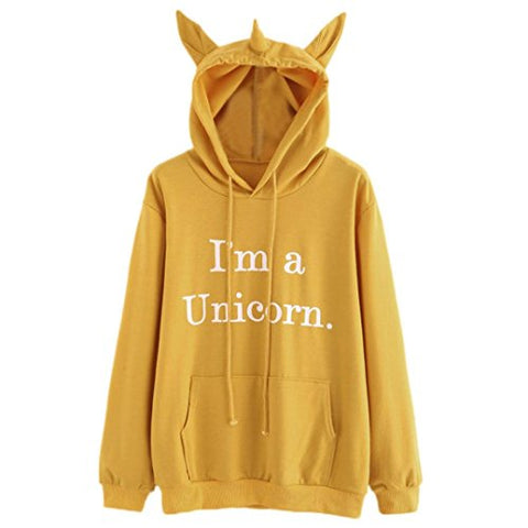 LILICAT Clothing High Quality Womens Unicorn Print Long Sleeve Hoodie Sweatshirt Jumper Hooded Pullover Tops, Autumn Winter New (Yellow, Size:S)