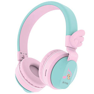 Cute Unicorn Wings Headphones | Wireless Bluetooth Compatible For iPad/iPhone/PC/School (Pink&Green)