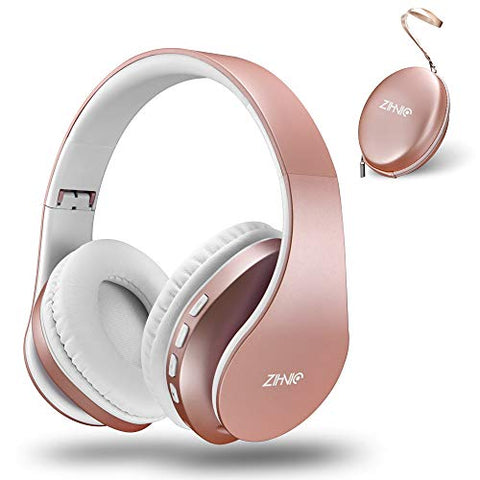 Rose Gold Bluetooth Headphones | Wireless & Wired Stereo Headset For Girls & Women