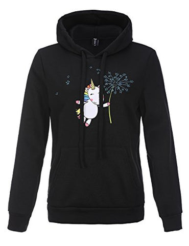 Stephaee Women's Cute Unicorn Print Hoodie Sweatshirt Casual Pullover Hooded Jumper Top Dandelion Unicorn S