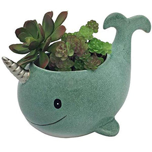unicorn narwhal plant pot