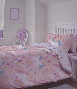 Luxury Unicorn & Rainbow Themed Single Bed Duvet Cover Set - Reversible