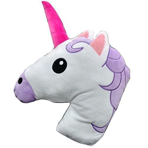 Unicorn Horse Emoji Head Shaped Emoticon Soft Plush Pillow Filled Padded Stuffed Cushion Bedding