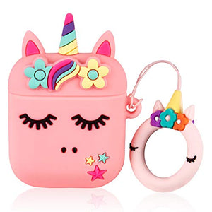 Pink Kawaii Unicorn AirPod Silicone Protective Case