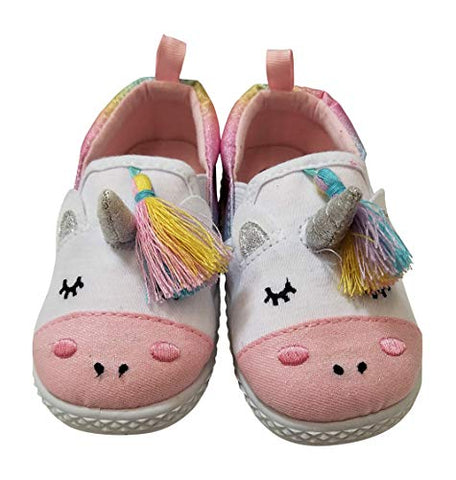 Cute Unicorn White Rainbow Sneakers Shoes Girls Toddlers White Pink