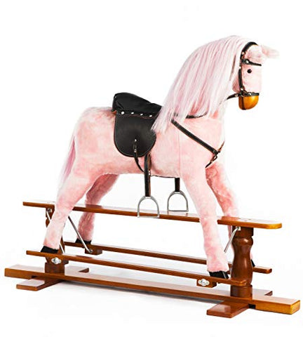 Pink Wooden Large Rocking Horse Children's