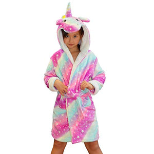 Girls Hooded Rainbow Unicorn Bathrobe, Dressing Gown,  Super Soft