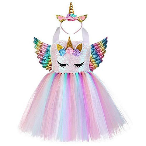 Girls Princess Unicorn Dress Up | Kids Ballet Tutu Tulle Dress With Headband Horn & Angel Win