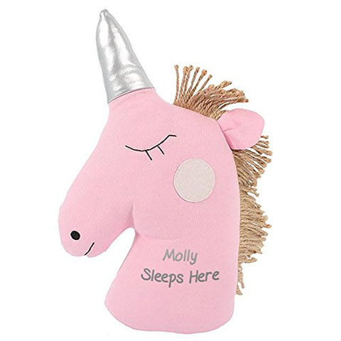 Pink Unicorn Doorstop - Personalised Message Of Choice