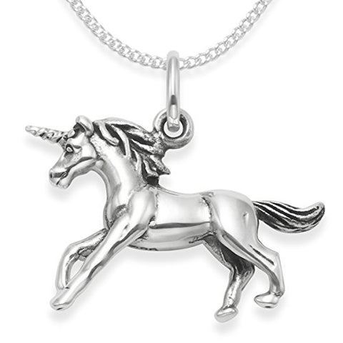 "Sterling Silver Unicorn Necklace on 16"" Silver chain - Double sided Unicorn Pendant - weight: 4.5gms - SIZE: 20mm x 15mm. 4931. Gift Boxed"