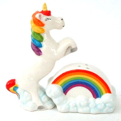 Unicorn Salt and Pepper Pots - Rainbow Spice Dispenser Standard