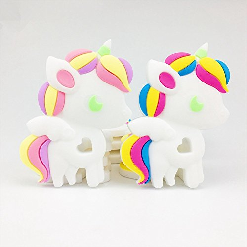 Mamimami Home Silicone Unicorn 5pcs Lovely DIY Teething Necklace Accessories Food Grade Silicone Teether Pendants Baby Teething Toy