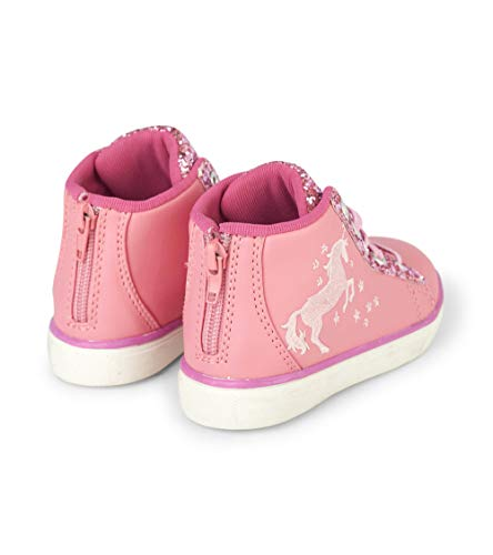 Pink unicorn zip up high top sneakers glitter