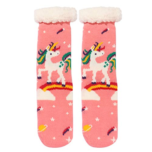 Premium Fleece Lined Fluffy Unicorn Slipper Socks For Women and Girls